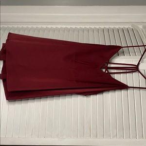 Sexy wine color spaghetti strap blouse